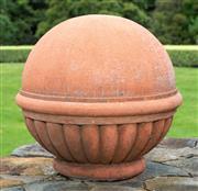 Sale 8677A - Lot 14 - A Pair of terracotta coloured ball finials. Height 36cm