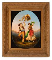 Sale 8804A - Lot 34 - Artist Unknown, C19th, Italian - Young Couple in Traditional Costume 39cm x 30cm