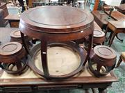 Sale 8814 - Lot 1057 - Chinese Rosewood Diminutive Five Piece Tea Setting, of barrel form, comprising table & four stools  (Table; H 62cm Dia 74cm, Stools;...