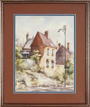 Sale 8891 - Lot 2007 - Ette Fizzell - Old Sandstone Houses Near The Rocks, Sydney, 1953 24 x 33 cm