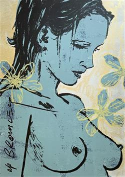 Sale 9091A - Lot 5016 - David Bromley (1964 - ) - Romy with Flowers 112 x 77.5 cm