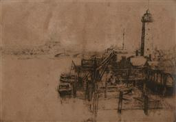 Sale 9252A - Lot 5071 - SYDNEY LONG (1871 - 1955) Waterloo Bridge etching (AF) 20 x 29 cm (frame: 40 x 49 x 2 cm) signed lower right