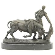 Sale 8356 - Lot 9 - Bronze Bull Fighting Figure Group
