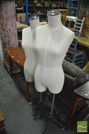 Sale 8386 - Lot 1070 - Pair of Shop Mannequins on Adjustable Cast Iron Bases with Castors