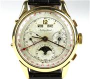 Sale 8402W - Lot 54 - MATHEY-TISSOT VINTAGE 18CT GOLD TRIPLE CALENDER CHRONOGRAPH WRISTWATCH; matte dial with centre seconds, second and minute registers,...