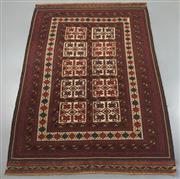 Sale 8438K - Lot 56 - Tribal Burgesta Kilim Rug | 270x177cm, Pure Wool, Unusual tribal Burgesta kilim rug handwoven in Afghanistan using a sumak kilim tec...