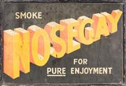Sale 8451 - Lot 1077 - An original tin advertising sign, Smoke Nosegay, for pure enjoyment, 52 x 76cm