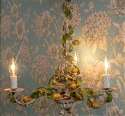 Sale 8500A - Lot 12 - A rare original vintage kumquat fruit 3 light tole chandelier - Condition: Rewired in working order - Measurements: 54cm high x 48cm...