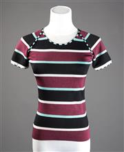 Sale 8499A - Lot 36 - A Cacharel, French made maroon, pale blue, black & white horizontal striped top with short sleeves. Size: S.