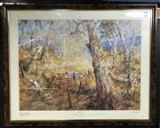 Sale 8563T - Lot 2004 - Hugh Sawrey - Golden Morn, decorative print ed. 252/500, 77 x 96cm (frame size), hand signed lower left