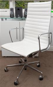 Sale 8575H - Lot 73 - An Eames reproduction desk chair in white leather and chrome Ex Glicks Furniture, 01/2010 $440