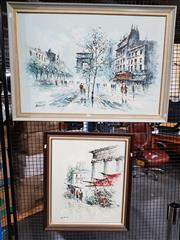 Sale 8699 - Lot 2083 - Louis Basset (2 works): Paris Street Scenes, acrylics on canvas, each signed lower