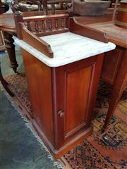 Sale 8814 - Lot 1091 - Victorian Mahogany Bedside Cabinet, with gallery rail, white marble top & single door
