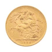 Sale 8855H - Lot 75 - 1928 Gold Sovereign weight approx 7.95g, SA above 1928
