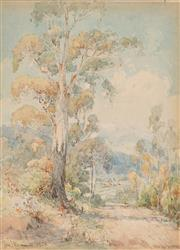 Sale 8901A - Lot 5094 - Charles Bennett (1869 - 1930) - Looking Down At Healsville, Mt Riddle In the Distance, Yarra Ranges, Victoria, 1928 20 x 14 cm