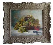 Sale 8960J - Lot 9 - Still Life by Jules Rozier (French 1821-1882) oil on canvas signed in a carved French frame 38 x 46 cm