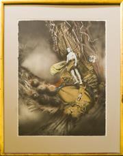 Sale 9080J - Lot 29 - James Gleeson - Figure in Psychoscape 76x57cm
