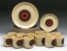 Sale 9148 - Lot 3 - A retro part Johnson of Australia dinner service (12 dinner plates, 11 bread plates, 12 teacups)