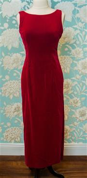 Sale 8420A - Lot 9 - A stunning vintage designer Matthew Eager deep red silk velvet dress, full length gown with thigh high side-split, size 8/10, condit...