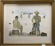 Sale 8759 - Lot 2017 - Saint Front - Island Scene, coloured lithograph, 34 x 40cm, signed lower right