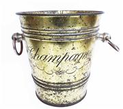 Sale 8828B - Lot 87 - A vintage French painted metal Chamapne bucket. Height 20cm