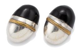 Sale 9107J - Lot 310 - A PAIR OF MEXICAN SILVER STONE SET CLIP EARRINGS; egg form set with onyx and gilt bar overlay, stamped MEXICO TM-146 925, size 30 x...