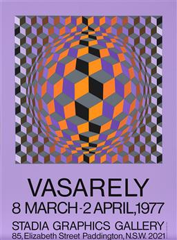 Sale 9212A - Lot 5026 - VICTOR VASARELY (1906 - 1997) - Exhibition Poster for Stadia Graphics Gallery, 1977 96.5 x 71.5 cm, sheet