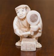 Sale 8346A - Lot 59 - A Japanese ivory netsuke, of a man, signed to base H 5cm