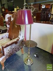 Sale 8539 - Lot 1083 - Antique Style Brass Standard Lamp, with an octagonal base, circular timber shelf, oil lamp finial & red shade, H 139cm