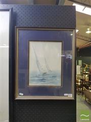Sale 8544 - Lot 2023 - Greg Jarmaine - Two Sailboats 47 x 39cm (frame size)