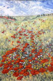 Sale 8563T - Lot 2002 - Ghyslaine Bluett - Poppy Field, mixed media, 53.5 x 35cm, signed lower left