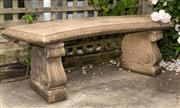 Sale 8677A - Lot 11 - Stone curve shaped bench Width 134cm