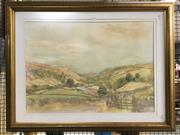 Sale 8776 - Lot 2079 - Artist Unknown - Country Valley and Cottage, watercolour,  77 x 99cm (frame)