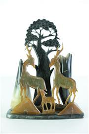 Sale 8968 - Lot 94 - Carved horn figural group of deers (H22cm)