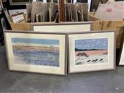 Sale 9053 - Lot 2054 - David Miles (3 works), Spoonbills; Woollumelloa; Maiainba, limited edition screenprints , largest frame: 72 x 87 cm) each SLR