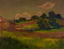 Sale 9125 - Lot 523 - Roland Wakelin (1887 - 1971) Spring, 1950 oil on board 41.5 x 54 cm (frame: 54 x 67 x 4 cm) signed and dated lower right