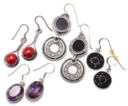 Sale 9149 - Lot 324 - FOUR PAIRS OF SILVER STONE SET EARRINGS; set with oval cut amethyst, onyx discs by Shablool, black crystals and red pastes, all to s...