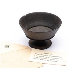 Sale 9170H - Lot 62 - An antique pottery Etruscan Buccaro raised bowl, Height 8cm, chip to  rim, with envelope containing details.