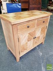 Sale 8480 - Lot 1074 - Oak Parquetry 2 Door, 2 Drawer Cabinet