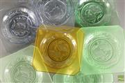 Sale 8494 - Lot 65 - Coloured Glass Mostly Green Fish Themed Glass Plates (7)