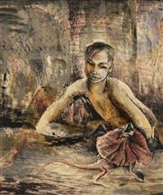 Sale 8652 - Lot 547 - Donald Friend (1915 - 1989) - Untitled, 1945 (Boy and Lizard) 52.5 x 42cm