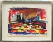 Sale 8771 - Lot 2016 - Susan Baird (1964 - ) - Sydney Cityscape with Harbour Bridge, 1993 31 x 42.5cm; 44.5 x 56cm (frame size)