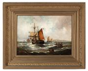 Sale 8804A - Lot 75 - Georges Pienne - Dutch Ship Offshore 40cm x 54cm