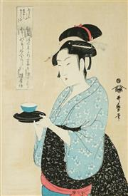 Sale 8836 - Lot 2011 - After Kitagawa Utamaro (1853 - 1806) - Portrait Of Naniwaya Okita 28.5 x 19cm