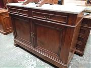 Sale 8868 - Lot 1107 - 19th Century French Walnut Side Cabinet or Buffet, with marble top, two drawers & two panel doors