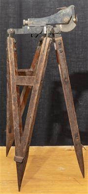 Sale 8984W - Lot 514 - An E.Esdaile and Sons timber tripod winch. Height approx 80cm