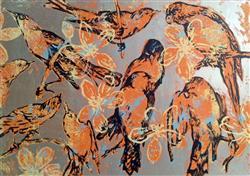 Sale 9091A - Lot 5018 - David Bromley (1964 - ) - Orange Birds 70 x 94 cm