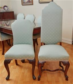 Sale 9098H - Lot 73 - A set of eight dining chairs comprising six upholstered with seafoam and shell motif with carved front legs and two taller backed en...