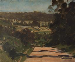 Sale 9125 - Lot 525 - Max Meldrum (1875 - 1955) Road at Doncaster, 1950 oil on board 36 x 43 cm (frame: 54 x 62 x 6 cm) signed and dated lower left, title...