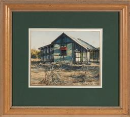 Sale 9139 - Lot 2052 - Heather Bell (1936 - ) - Old Home, Toorale near Bourke 19.5 x 24.5 cm (frame: 42 x 47 x 3 cm)